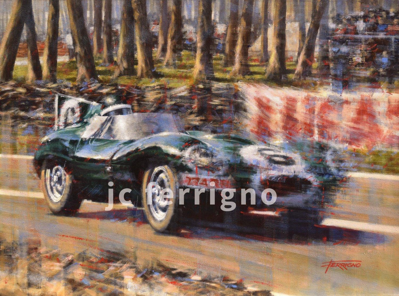 12-Jaguar at 1955 Le Mans-70x52 cm